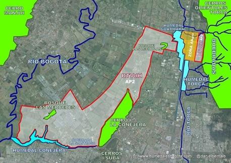 """Mapa de la Reserva Forestal Regional Productora del Norte de Bogotá """"Thomas van der Hammen"""" (Fundación Humedales Bogotá)."""
